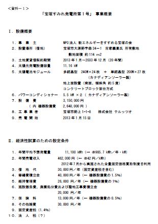 宝塚すみれ発電所第1号に関する建設協力金の応募終了